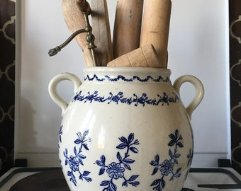 """Huge Confit Pot French """"St. Uze"""" Pottery Antique Transferware  Exceptionally large"""