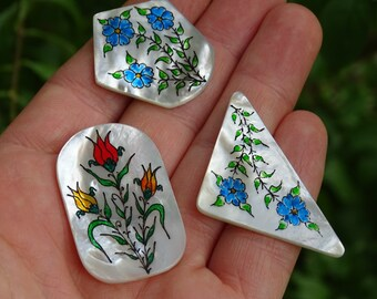 Miniature painting on Mother of pearl , pendants