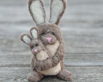 Needle Felted Bunny - Holding Baby