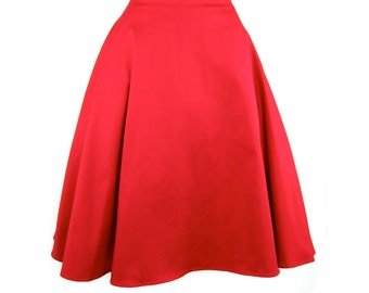 Rockabilly Red Full  Circle  Skirt