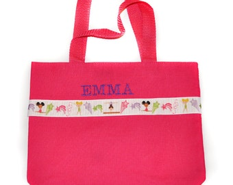 Gymnastics Pink Tote Bag with Monogram Name Embroidered on it, Personalized Bag, Swin Bag, Daycare Bag, Toy Bag