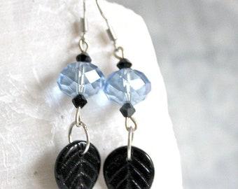 Black and blue leaf earrings