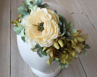 Turquoise and Ivory Adult or Child Floral Crown on Wired Twine Organic Boho - Maternity, Wedding, Bridal, Child Photo Prop - Ready to Ship