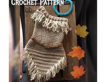 Pocahontas Inspired Dress Set -  PATTERN ONLY - Crochet - Sizes: 0-3 month, 3-6 month, 6-9 month, 9-12 month, 12-18 month, 18-24 month
