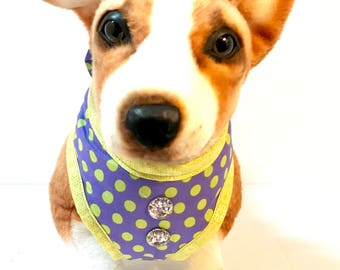 Purple with Chartreuse Polka Dots Comfort Dog Harness Harness w/ Back Bow