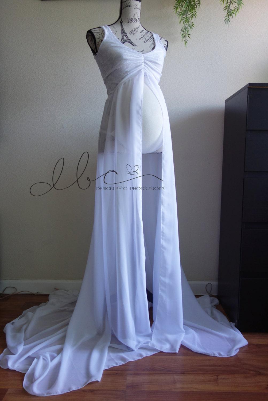 Giselle white lace/chiffon maternity gown/senior