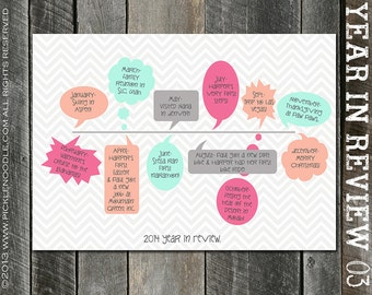 Year in Review Christmas Card - Pink & Navy - Coral and Mint - Yellow and Gray - Yellow and Grey - Red and Navy - Chevron - DIGITAL