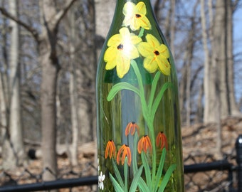 Recycled wine bottle bird feeder, hand painted, fun bird feeder, out door art, feed the birds