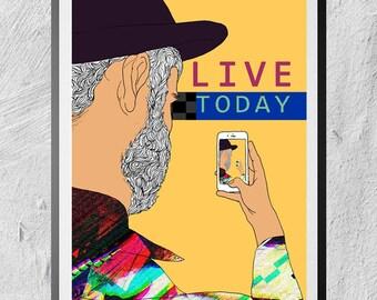 LIVE TODAY digital illustration