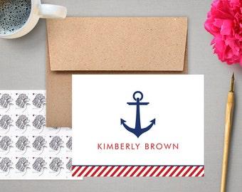 Personalized Stationery Set - Nautical Anchor - Custom Notecards - Personalized Stationary