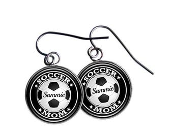 Soccer Gift,  Mom Earrings, Personalized, Soccer Mom, Team Gift, Coach Gift, Player's Number, Sports Jewelry, Athlete Gift, Sports Jewelry