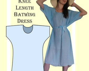 Sewing Pattern: Summer batwing dress, knee length