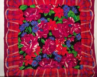 Vintage 1980s Oversized Magenta and Blue Floral Silk Scarf