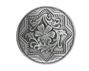 2 Italian Renaissance 7/8 inch ( 23 mm ) Pewter Metal Buttons Antique Silver Color