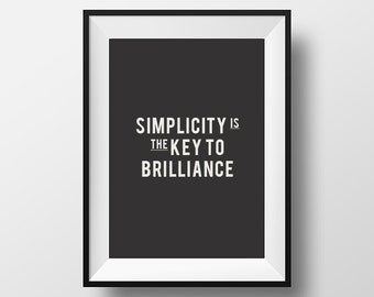 Printable Art, Motivational poster, Typography Poster, Simplicity, Home Decor, Wall Art, Digital Download, Inspirational Quote, Minimalist