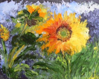 Sunflower Sun in the House knife oil painting