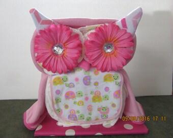 Baby Girl Owl Diaper Cake