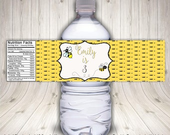 Bumble Bee Party, Bumble Bee Birthday, Water Bottle Label, Bumble Bee Theme, Bee Party Favors, Bee Baby Shower, Bumble Bee Baby, Bee Themed