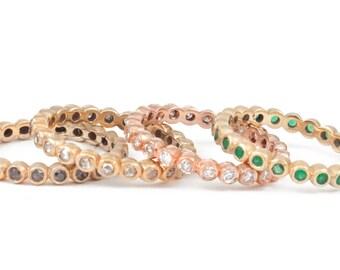 Bezel Set Ring, Eternity Style Ring, Diamond Band, Wedding Ring, Color Stones, Tula Jewelry.