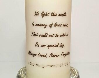 Unscented Pillar Candle, Pillar Candle, Memorial Candle, Keepsake, Gift For Her, Wedding decor, Wedding Candle, Memory Decor