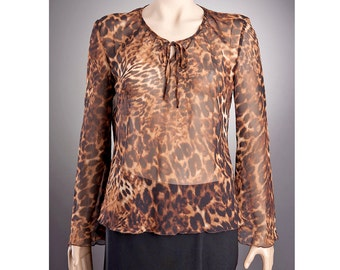 Tiger Blouse Sheer BLOUSE with beautiful pattern, Long sleeve blouse,Tiger Top, Last piece, size L,Leopard Blouse