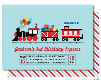 Train Birthday Invitation, Bright, Train Birthday, Printable or Printed