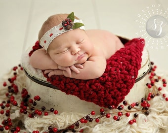 Chunky Cranberry Red Baby Blanket Newborn Photography Prop