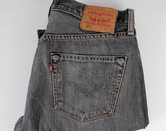LEVIS 501 Jeans Vintage Black Denim Jeans Washed Out Bleached Pants Levi's XX Button Fly W32 L32