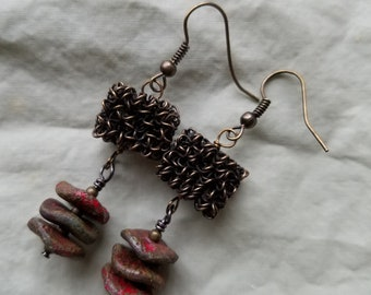 Antique copper beads with wavy disc earrings