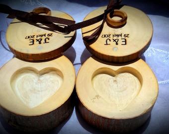 Tronco porta anillos, base para anillo de boda, porta alianzas rústico, porta alianzas personalizado, Personalized wooden ring box.