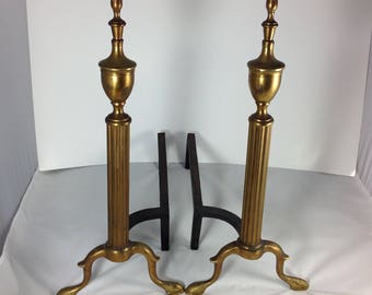 Vintage Andirons Brass & cast iron  Firedogs designed to hold faux logs on electric Fireplace mantel