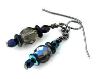 Blue, Green, Gold Iridescent Bead Drop Earrings, Metallic Iris Blue Glass Pierced Drop Earrings, Bridesmaid Jewelry, Wedding Jewelry