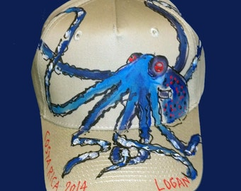 Blue Octopus Baseball Cap Handpainted for Adults and Kids