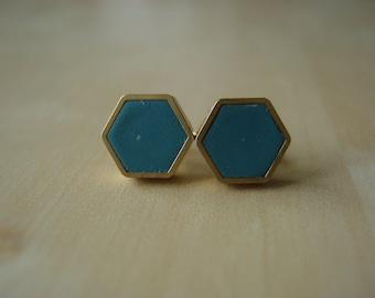 deep green teal mini brass hexagon stud earrings
