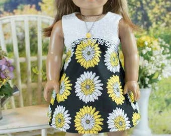 18 Inch Doll DRESS in Black Yellow White and White Eyelet with Necklace PURSE and SANDALS Options for dolls like American Girl