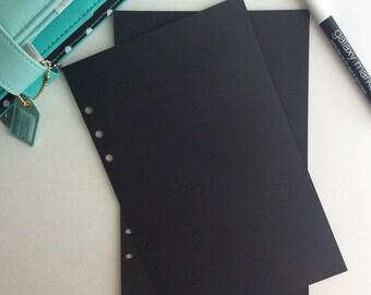 Half Letter Size Black Paper Planning Planner Inserts