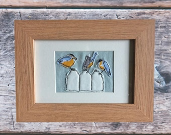 Free-motion embroidery 3 little birds textile art picture