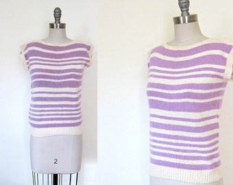 1980s vintage lavender purple cream angora rabbit wool silk blend striped pierre cardin soft cap short sleeve sweater s small