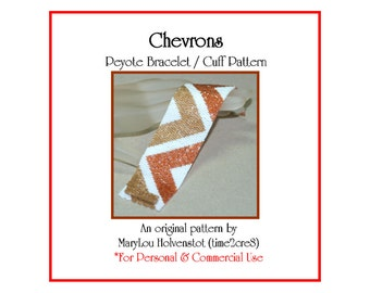 Peyote Bracelet Pattern ... CHEVRONS ... Zigzag . Stripes . Geometric . Beadwork . Cuff . Modern . Simple . Instruction . Tutorial . 3 for 2