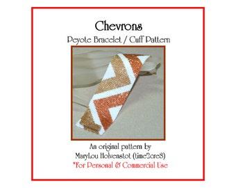 Peyote Bracelet Pattern ... CHEVRONS ... Zigzag . Stripes . Geometric . Beadwork . Cuff . Modern . Simple . Instruction . Tutorial . 3 for 2