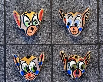Quatre aimants pour réfrigérateur Hip Cat par Jenny Mendes