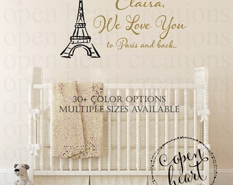 Paris Wall Decal - Paris Wall Decals - Name Vinyl Wall Decal - Eiffel Tower Wall Decal - Nursery Decor BA0549