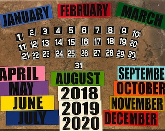 Calendar Magnets - Month/Year Set - Add on Available: Days 1-31