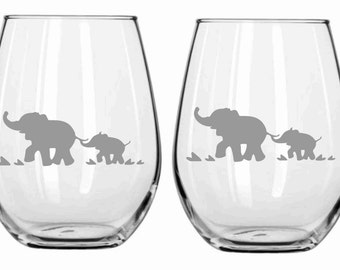 Sand Etched Elephant Glass  Choose from Wine, Stemless Wine, Pub, Pilsner, Beer Mug, Coffee Mug, Rocks FREE Personalization