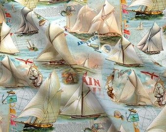 Vintage Sailing Fabric - Sailing The Seas By Carolyn Grossman - Vintage Summer Sailing Decor Cotton Fabric By The Yard With Spoonflower