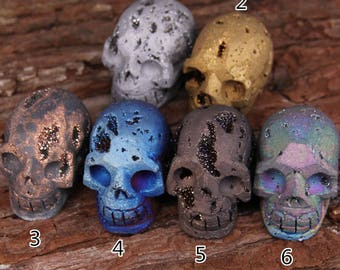 1pcs Sale,more color choice,Carving Skull Head Titanium Druzy Aagte Skull,Raw Drusy Geode Sculpture Skull,Large Skull Craft Jewelry Findings