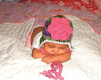 Baby Girl Hat, Baby Ear Flap Hat, Hat With Flower, Newborn, Crochet, Pink, Multicolor,