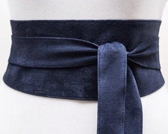 Navy Blue Suede Obi Belt  Waist wrap belt  Suede tie belt  Suede leather belt  Dark blue belt  Plus size belts  Gift for her  Blue Suede