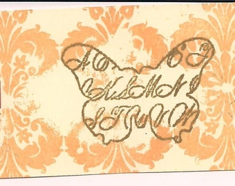 Unmounted Altered Script Butterfly rubber stamp zNe scrapbooks