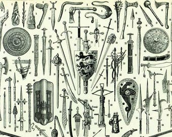 1933 Antique Weapons Print. Sword Gun Lance Pike Crossbow Shield Wall Art Vintage Home Decor